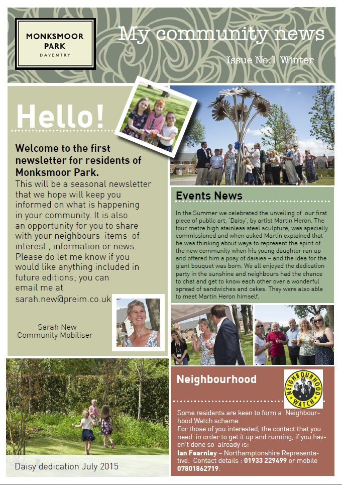 Monskmoor park newsletter